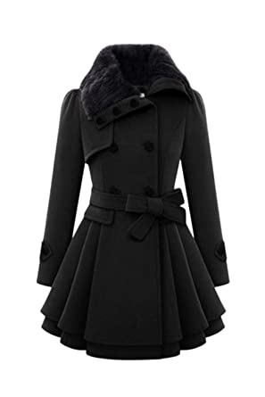 Mupoduvos Women Elegant Lapel Double Breasted Belted Tunic Wool Outerwear Coats Black XS