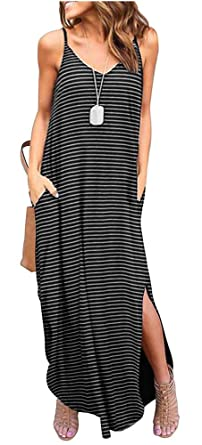 3603ba09a45c Image Unavailable. Image not available for. Color  ETCYY Women s Summer  Casual Stripe Sleeveless Loose Beach Maxi Dress