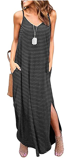 245faa4d03ba Image Unavailable. Image not available for. Color  ETCYY Women s Summer  Casual Stripe Sleeveless Loose Beach Maxi Dress
