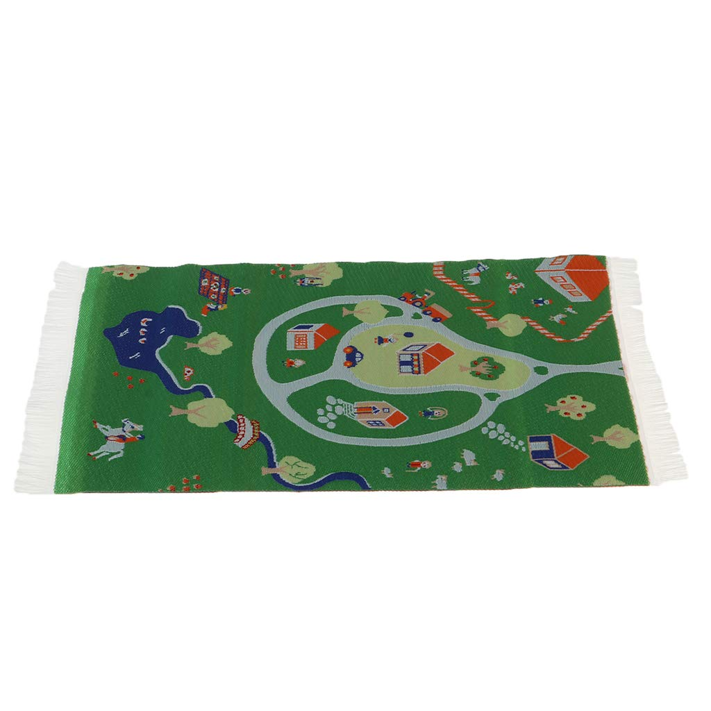 1//12 Scale Cartoon Animal Carpet Area Rug for Dolls House Kid Bedrooms Decor