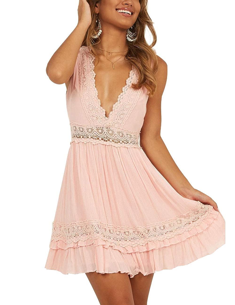 96932c09b0 Hellozebra Women's White V-Neck Sleeveless Sundress Backless Summer Beach  Mini Dress at Amazon Women's Clothing store: