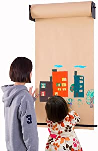 Hershii Wall Mounted Hanging Easel Novelty Kids Toy Adult DIY Drawing Note Kraft Paper Roll and Black Bracket Holder Home Decoration for Children Bedroom, Artist Studio, Living Room, Study, Cafe Shop