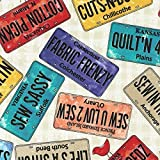 Sew Musical License Plates Fabric from Timeless Treasures by the yard