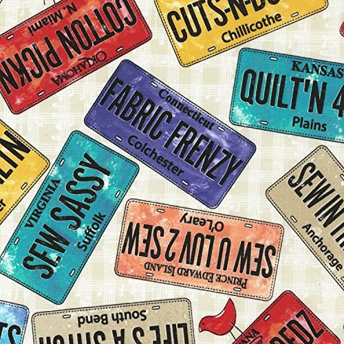 Sew Musical License Plates Fabric from Timeless Treasures by the yard by Timeless Treasures