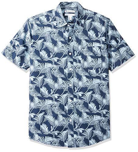 Amazon Essentials Men's Slim-Fit Short-Sleeve Print Shirt, Palm Leaf, XX-Large