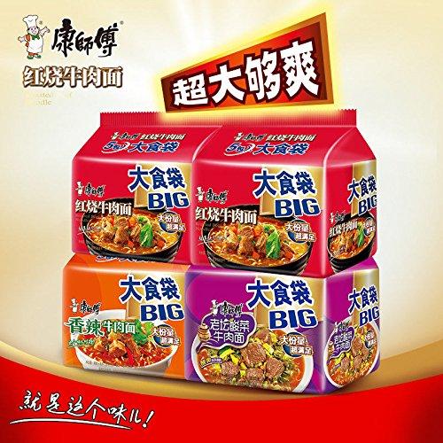 China food co. LTD. 大份量 超满足 大食袋组合China Instant Noodle(康师傅 BIG大食代3口味20包组合)Roasted Beef Noodle整箱泡面华人风味 by China food co. LTD.
