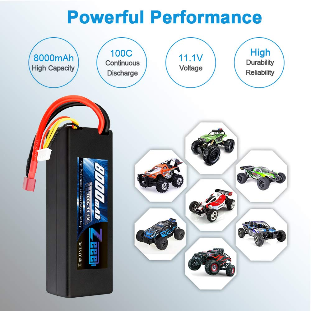 Zeee 8000mAh 11.1V 100C 3S RC Lipo Battery Pack with Deans T Plug for 1/8 1/10 RC Car Model Traxxas Slash Buggy Team Associated by Zeee (Image #6)