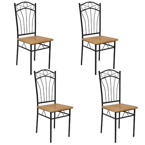 Festnight set di 4 sedie per sala da pranzo soggiorno moderno sedia ...
