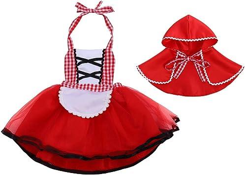 OwlFay Disfraz Deluxe Caperucita Roja Bebé Niña con Capa Vestido ...