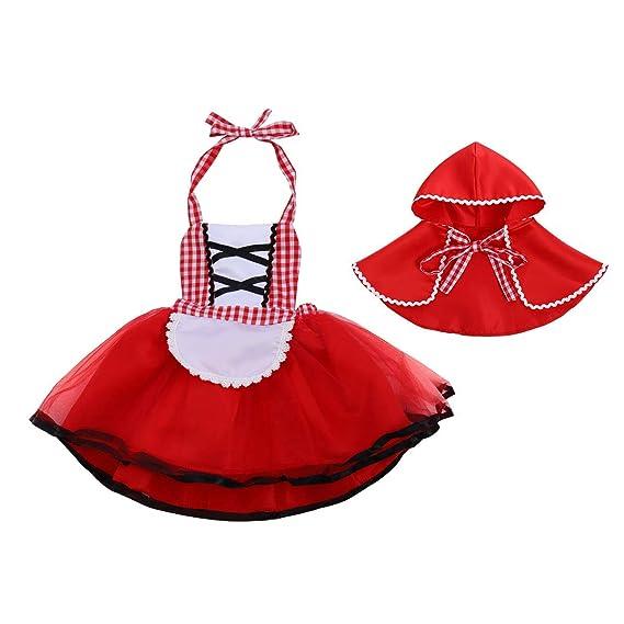 OwlFay Bebé Niñas Disfraz Deluxe Caperucita Roja con Capa Vestido ...