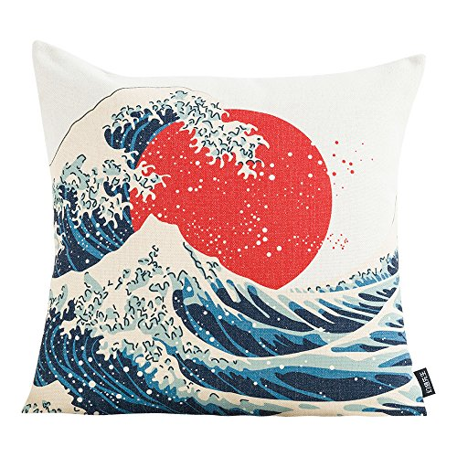 MR FANTASY Throw Pillow Cover Case Japanese Ukiyoe Cushion Cover for Couch Sofa Home Decor, Square Pillow Shell 18''x18'', Christmas