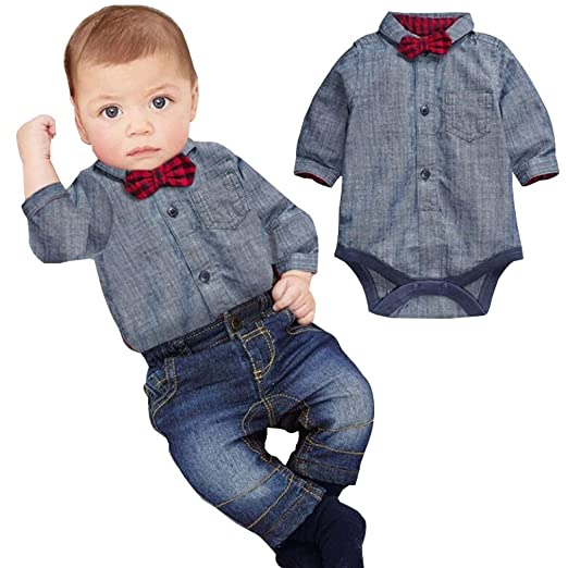 1494b7b58b86 Amazon.com  Baby Boys  2 Piece Shirt Pants Set Baby Boys Gentleman ...