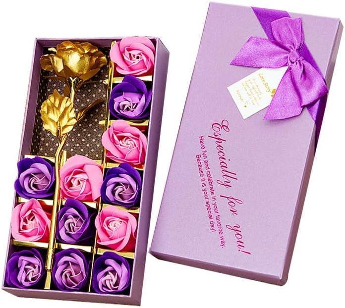 Txyk 12Pcs Rose Savon D/écoratifs Parfum/é Bain Fleur Bouquet Fleur dor Bo/îte Cadeau pour Anniversaire//Mariage//Jour//La F/ête De Saint Valentin.-Pourpre