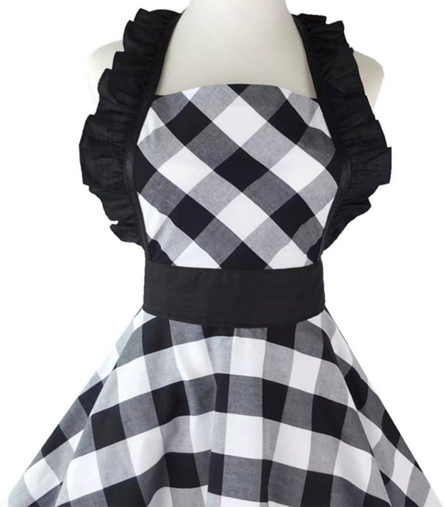 Cuisine R/étro Bleue Tabliers Femme Fille Coton Rouge Cuisine /À Carreaux Tablier Vintage Robe,Black