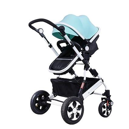 HJHY Carruajes de bebé, paisaje alto puede sentarse y mentir pliegue ligero carretilla de cuatro