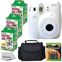 Fujifilm Instax Mini 8 Instant Film Camera (White) With Fujifilm Instax Mini 6 Pack Instant Film (60 Shots) + Compact Bag Case + Batteries Top Kit - International Version (No Warranty)