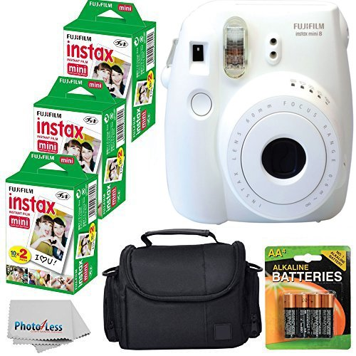 Fujifilm Instax Mini 8 Instant Film Camera (White) With Fujifilm Instax Mini 6 Pack Instant Film (60 Shots) + Compact Bag Case + Batteries Top Kit - International Version (No Warranty)