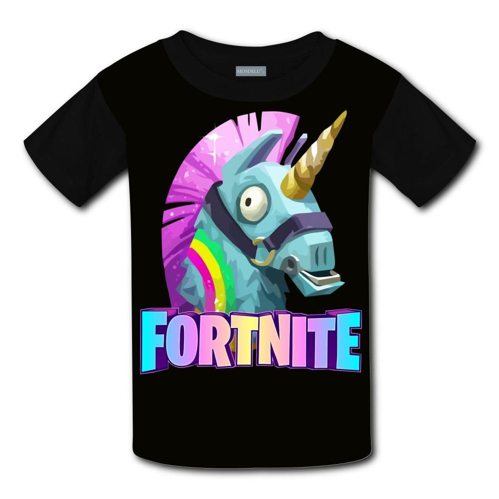 LDOJ Boys Girls 3D Printed Fort-nite Unicorn Short Sleeve T-Shirt Tee