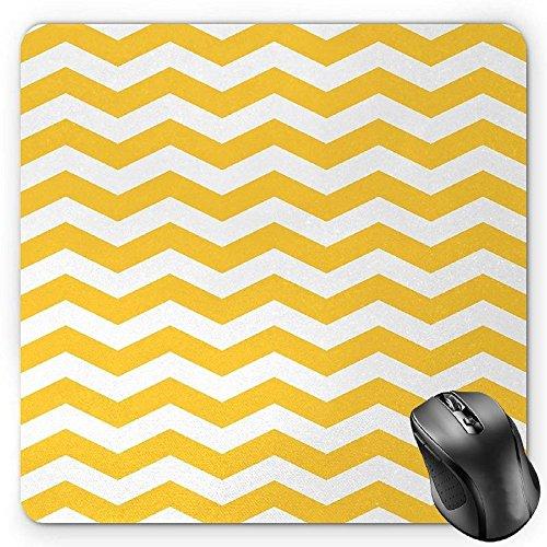 BGLKCS Yellow Chevron Mouse Pad, Modern Summer Season Pattern Zigzag Tile Design Wavy Horizontal Motif, Standard Size Rectangle Non-Slip Rubber Mousepad, Yellow and White (Wavy Motif)