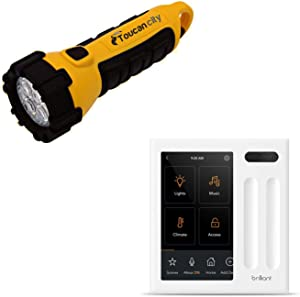 Toucan City LED Flashlight and Brilliant Smart Home Control (2-Switch Panel) for Amazon Alexa, Assistant, Apple HomeKit, Ring, Sonos and More BHA120US-WH2
