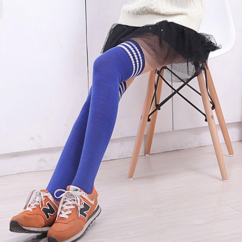 leotardos para mujer azul blanco HugeStore Medias largas hasta arriba de la rodilla a rayas