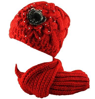 Bonnet Et Echarpe Ensemble 2 Pieces Crochet En Tricot Pour Femmes