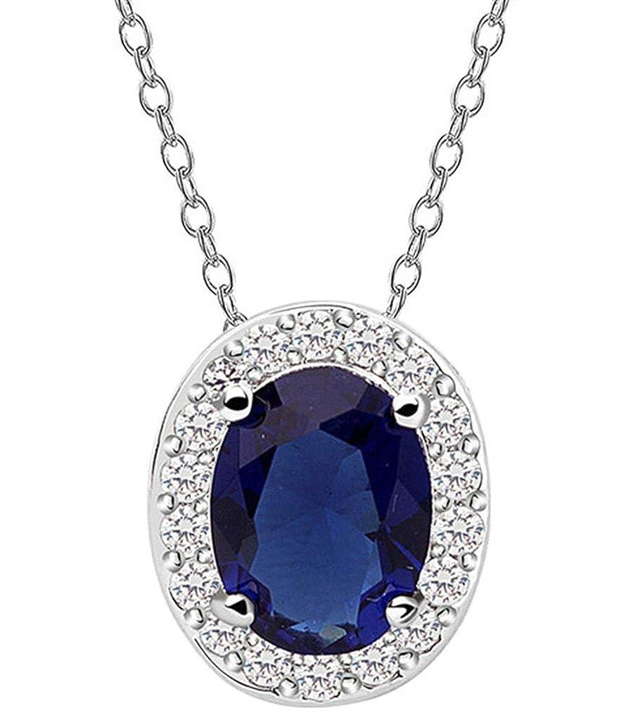 KnSam Women Platinum Plate Pendant Necklace Oval Halo Rolo Blue Crystal Rhinestone