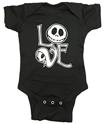 amazoncom nightmare before christmas baby one piece jack and sally love bodysuit clothing