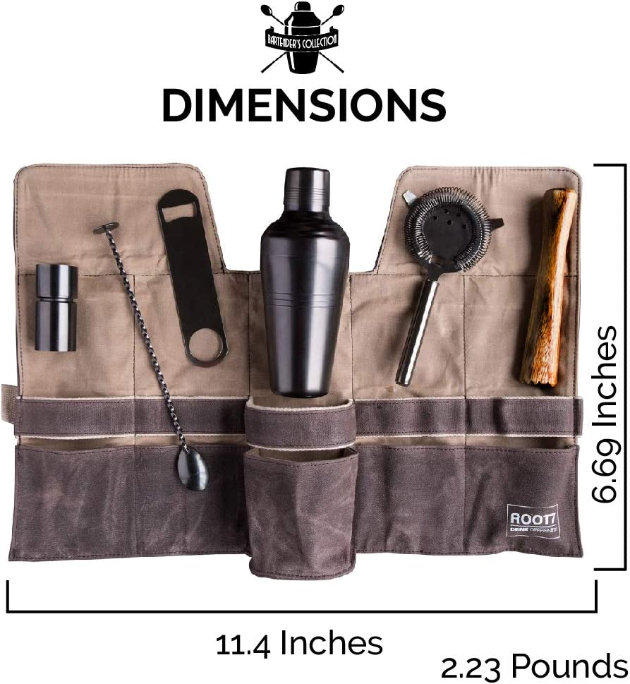 Root7 Premium Bartenders Kit Full Collection Professional Cocktail Making Set with Six Modern Cocktail Making Tools and Canvas Bag, Titanium Coated