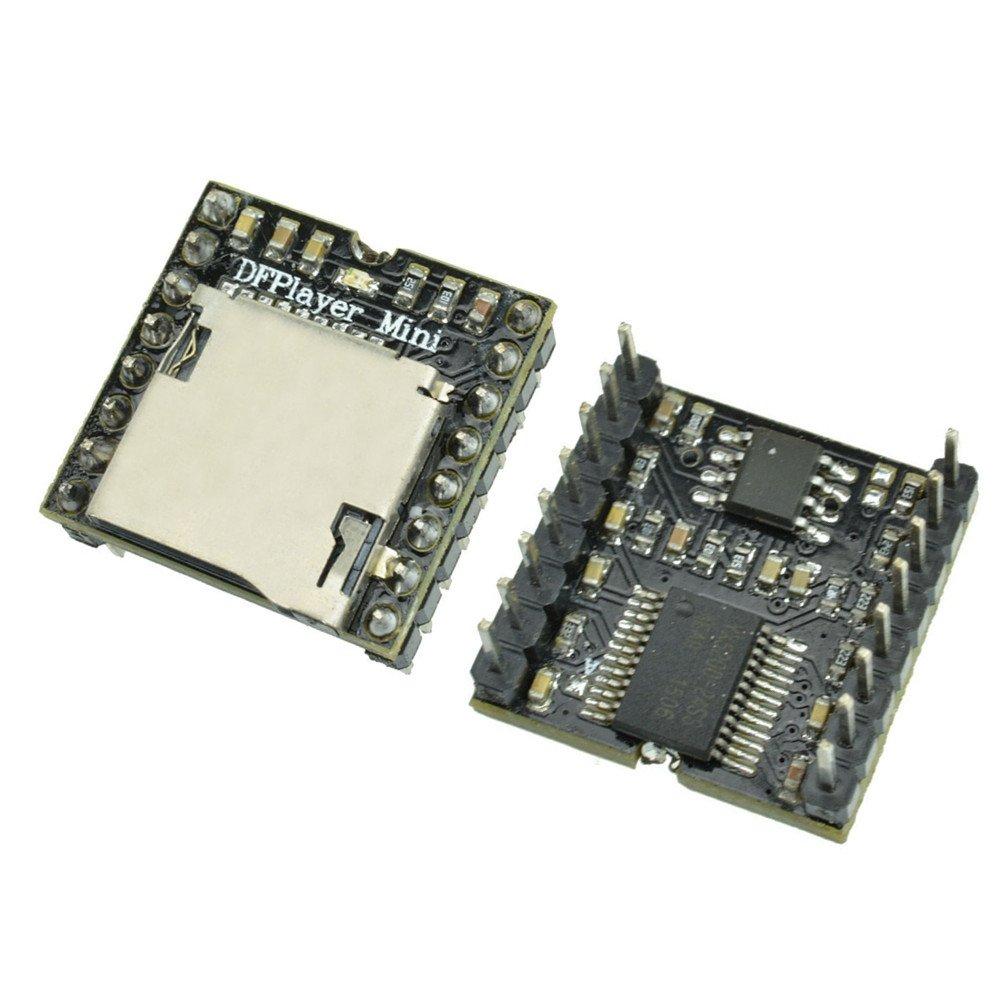 diymore 2PCS Mini MP3 Player Module WMV Decorder Board TF Micro SD Card U Disk Mini DFPlayer Audio Voice Music Module for Arduino UNO