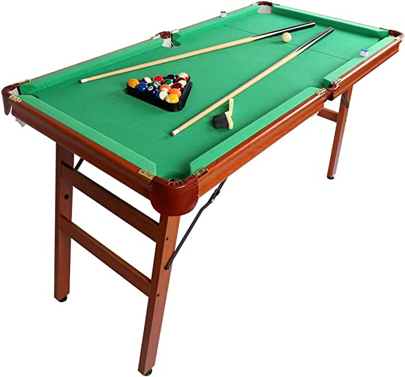 Fran_store 55 Portable Folding Billiards Table Pool Game Table Includes Cue
