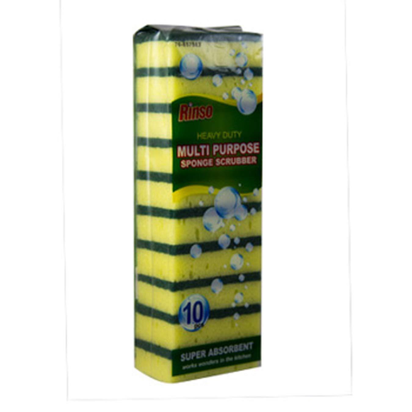 (Pack of 48, 480 Ct) Rinso Sponge Scrubber Multi Purpose Sponge Heavy Duty, Super Absorbant, 10pk