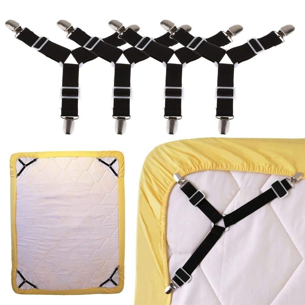 couvertures de Matelas Black Bretelles /élastiques r/églables de Bretelles de Support de pr/éhenseur de Triangle pour des draps Coussin de Sofa WANGLAI 4 PI/ÈCES Attaches pour draps de lit