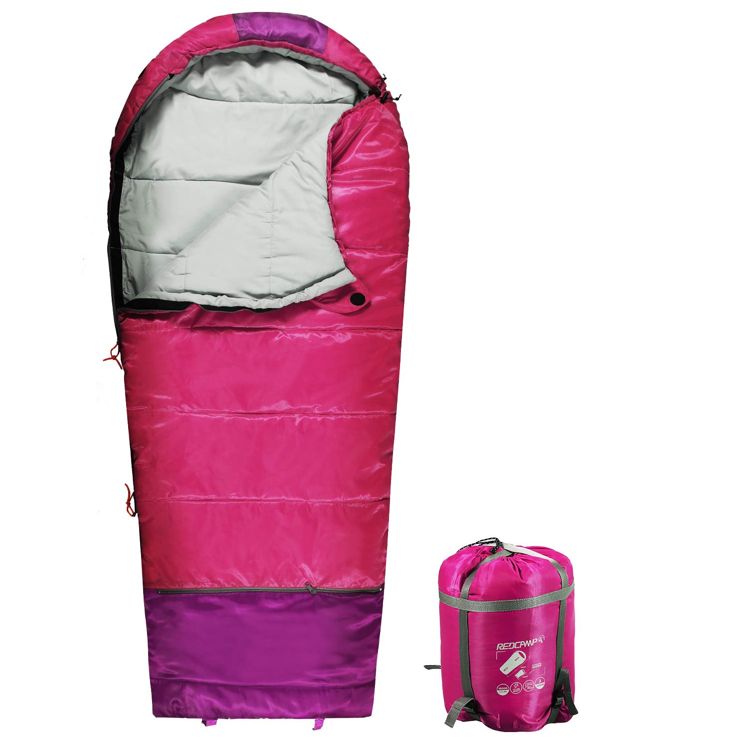 REDCAMP Kids Mummy Sleeping Bag for Camping Zipped Small, 40 Degree 3 Season Cold Weather Fit Boys,Girls & Teens (Pink with 2.4lbs Filling) by REDCAMP