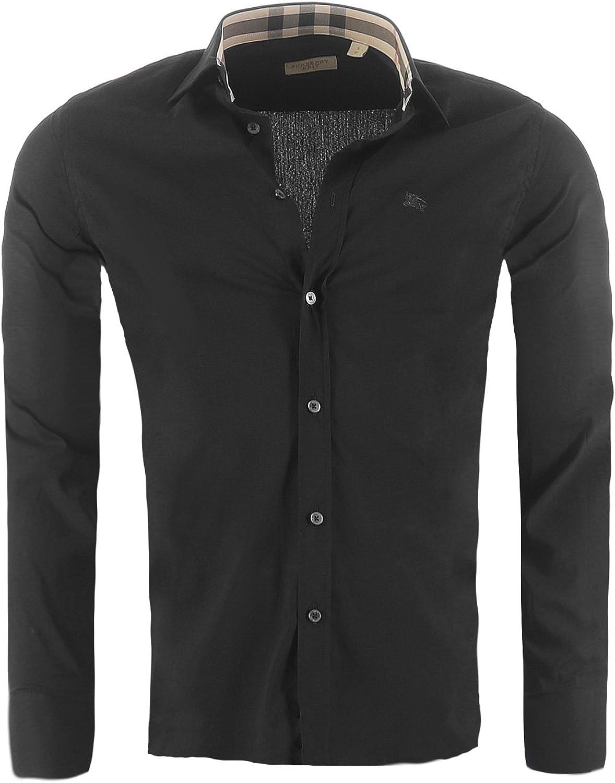 BURBERRY BRIT Camisa para Hombre de Corte Ajustado, Color:Negro, Tamaño:S: Amazon.es: Ropa y accesorios