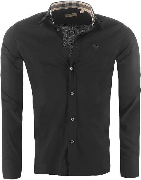 BURBERRY BRIT Camisa para Hombre de Corte Ajustado, Color:Negro, Tamaño:S