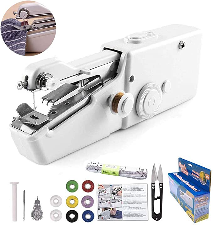 Clothing DIY Handicraft Shop eoocvt Handheld Sewing Machine Black Family Travel Childrens Clothing Cordless Handheld Electric Sewing Machine Used for Fabrics Have Power Cord