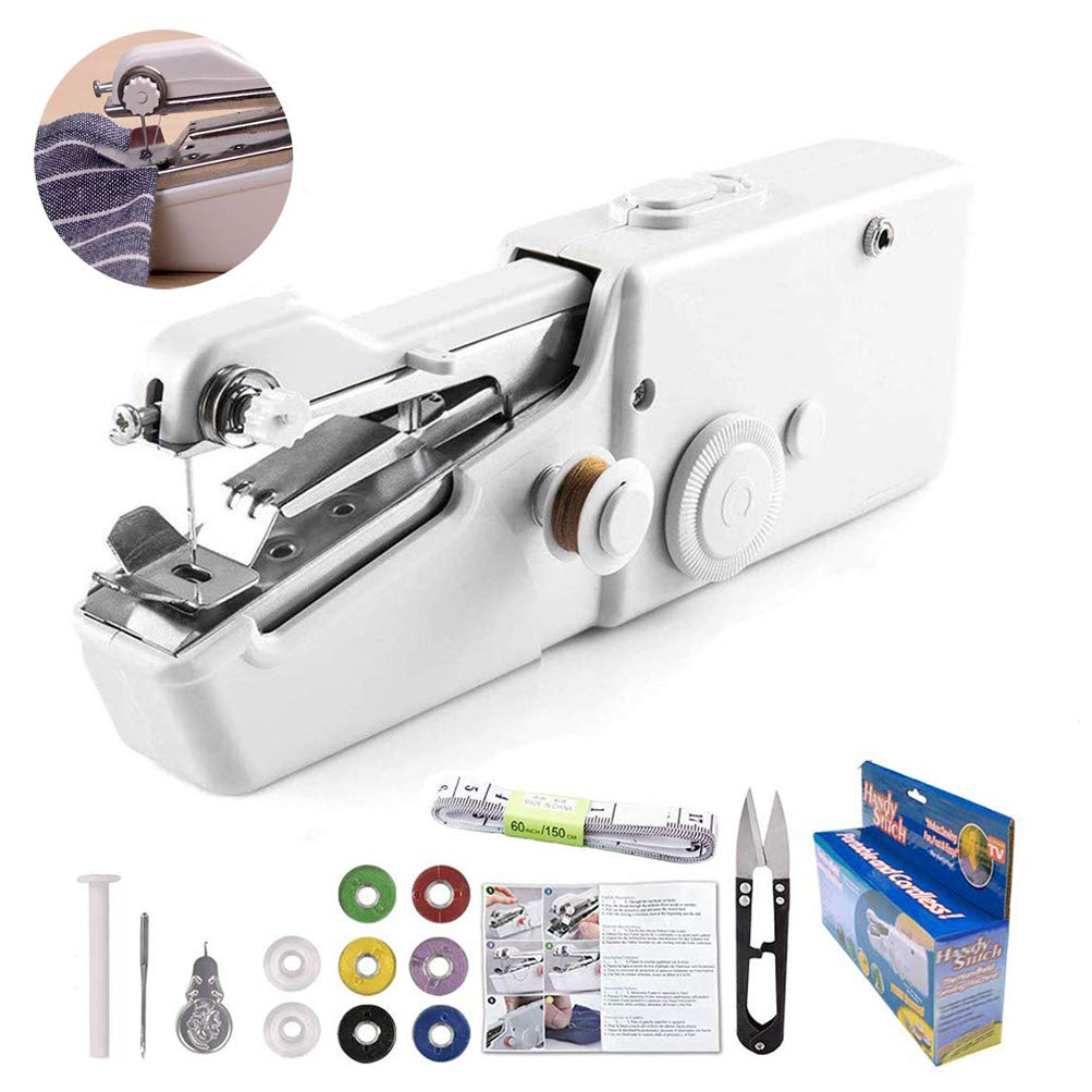 Handheld Sewing Machine Yibaision Portable Mini Electric Stitching Machine Fabric Curtains Cordless Craft Sewing Machine for Home Travel with Extra Bobbin, Needle and Threader 15 Pcs by Yibaision