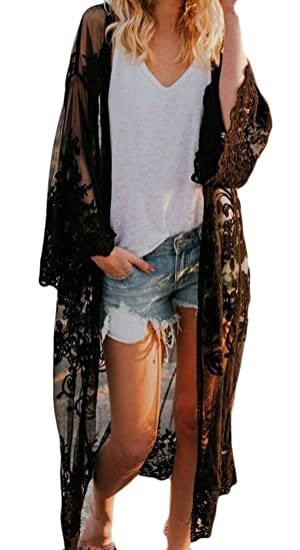 d4385e14fb ainr Womens Chiffon Kimono Cardigan Lace Long Maxi Beach Dress Bikini  Covers up Black OS