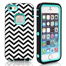 iPhone 5C Case,Lantier Wave Pattern 3 in 1 Design [Shockproof] [Heavy Duty Bumper] [Rugged Rubber Combo] Protective Case Cover For Apple iPhone 5C Mint Green