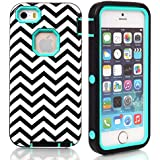 iPhone 5s case,iphone 5 case,Lantier Wave Pattern [ 3 in 1 Shield Series ] Hybrid Case with Soft Silicone Inner and Hard PC Outer Cover Case for Apple iPhone 5/5s Mint Green