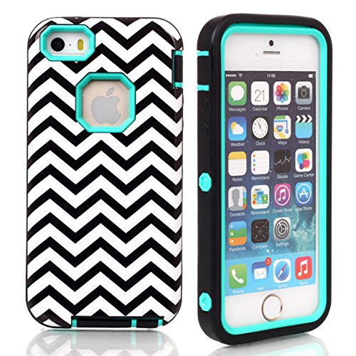 Coque iPhone 5C, Lantier Motif en vagues 3 en 1 Design [antichoc] [Heavy Duty Bumper] [robuste caoutchouc Combo] Housse de protection pour Apple iPhone 5C Mint Green