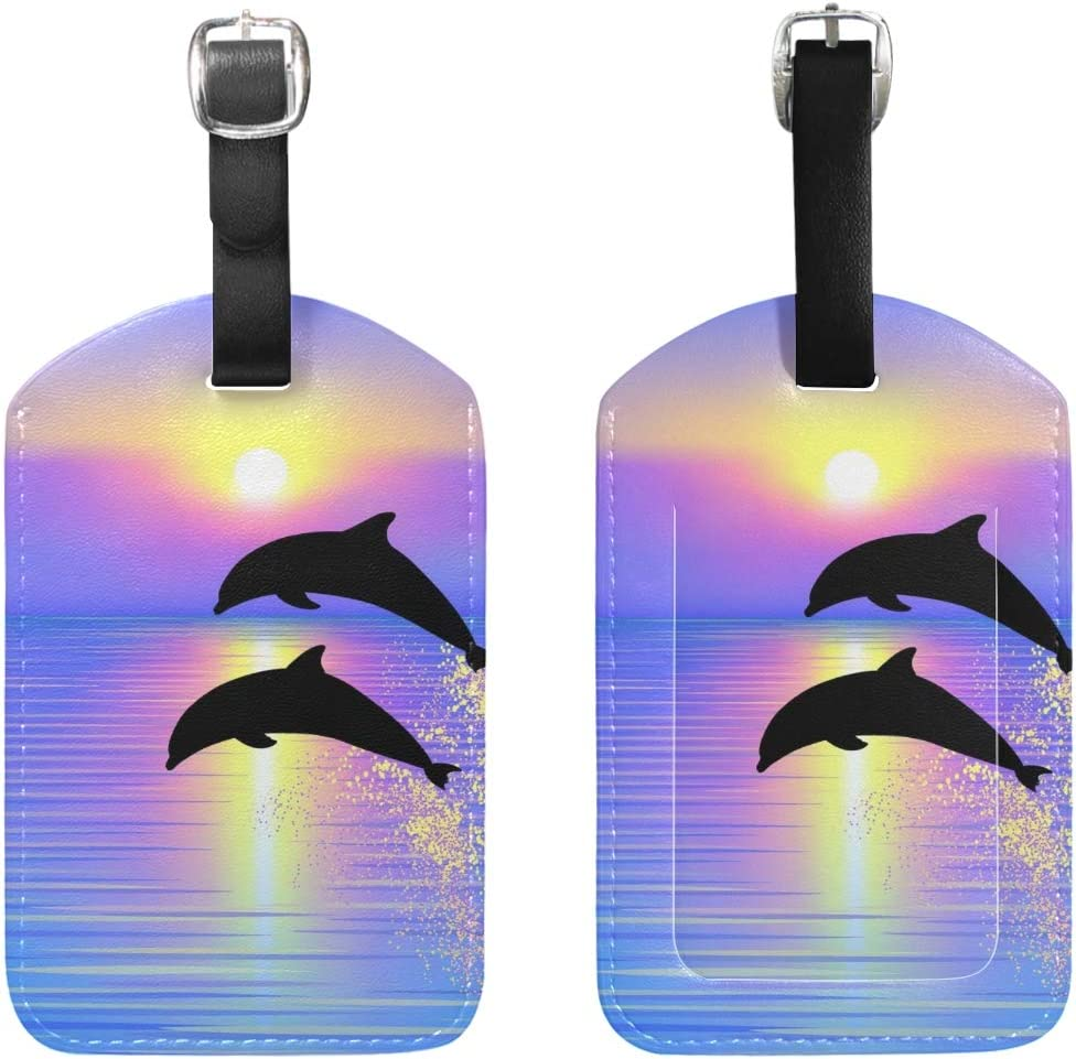 Dolphins Ocean Travel Tags For Travel Tags Accessories 2 Pack Luggage Tags