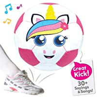 Move2Play Pink Unicorn Soccer Ball, Hilariously Interactive Toy with Music and Sound FX for Soccer Loving Toddlers and Girls Ages 2 3 4 5 6 Years Old