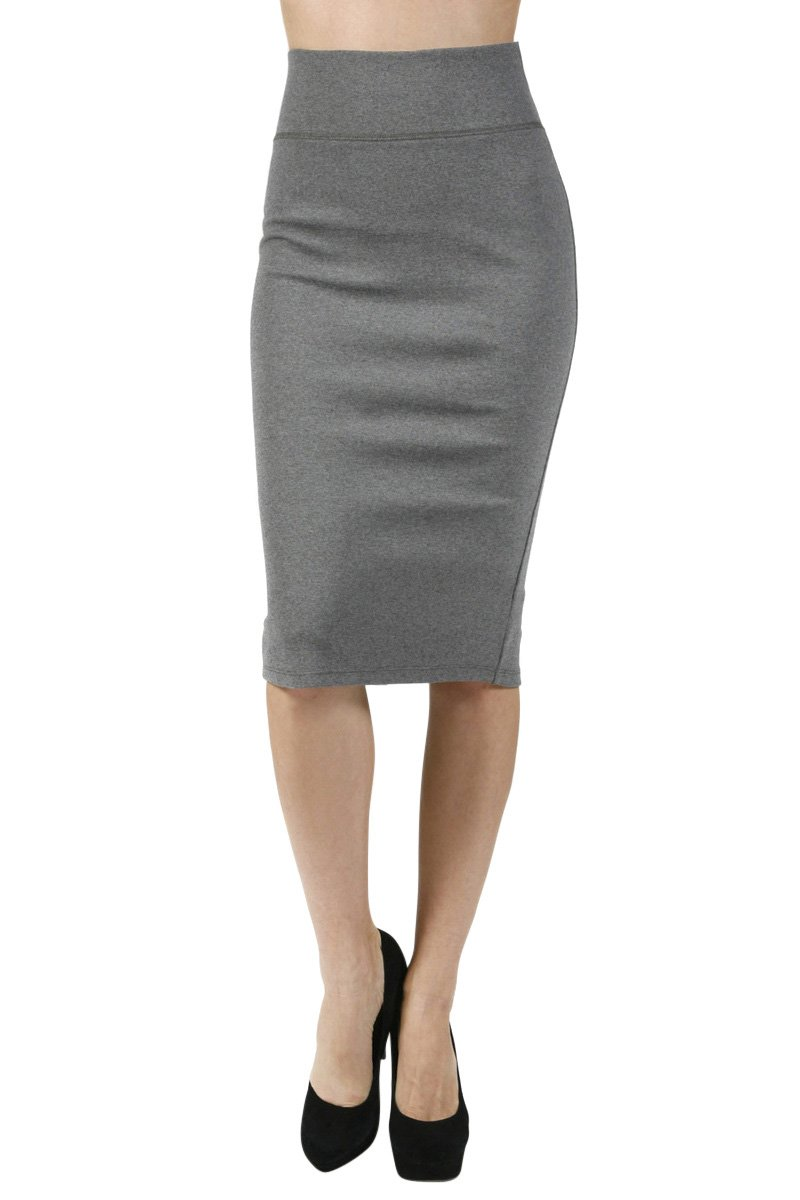 Women H. Grey-2181 High Waist Straight Pencil Bodycon Midi Knee Length Skirt, Large Size