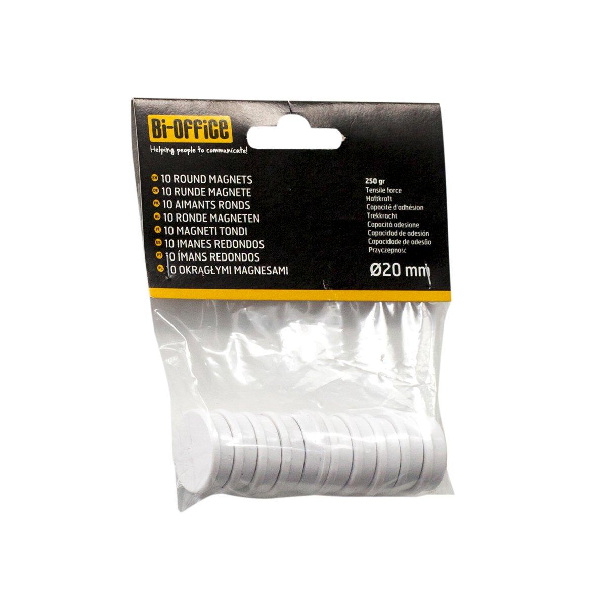 Bi-Office IM141609 Magneti da 20 mm, 10 x 20 x 5 mm, Bianco IM140509