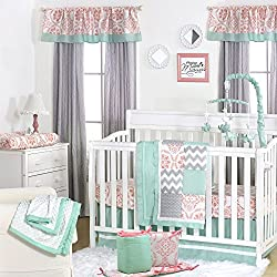 Mint, Coral and Grey Patchwork 5 Piece Baby Crib Bedding Set for girls by The Peanut Shell