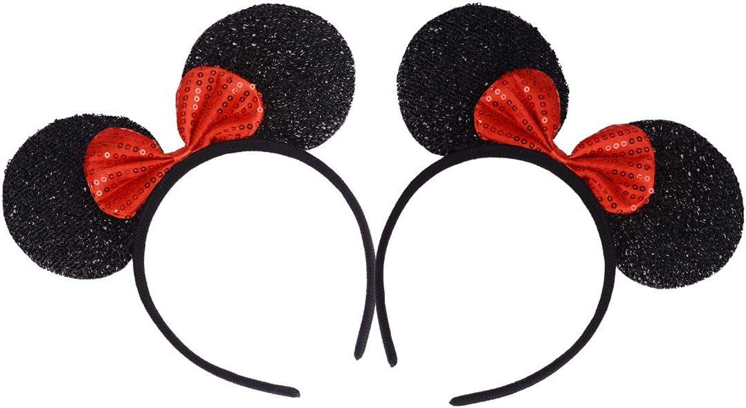 Conjunto de 2 Diademas para cumpleaños Fiestas de Halloween Mamá Niños Niñas Sombrero de orejas de ratón precioso Decoraciones (Lentejuelas rojas con purpurina negra)