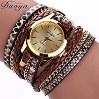 AutumnFall Women Bohemian Bracelet Woven Braided Handmade Wrap Bracelet Flower Gemstone Wristwatch (Coffee)