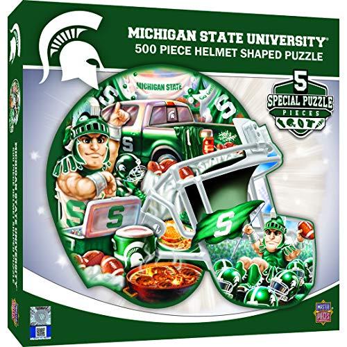 MasterPieces NCAA Michigan State Spartans 500 Piece Helmet Shaped Jigsaw Puzzle (Jigsaw Rug)